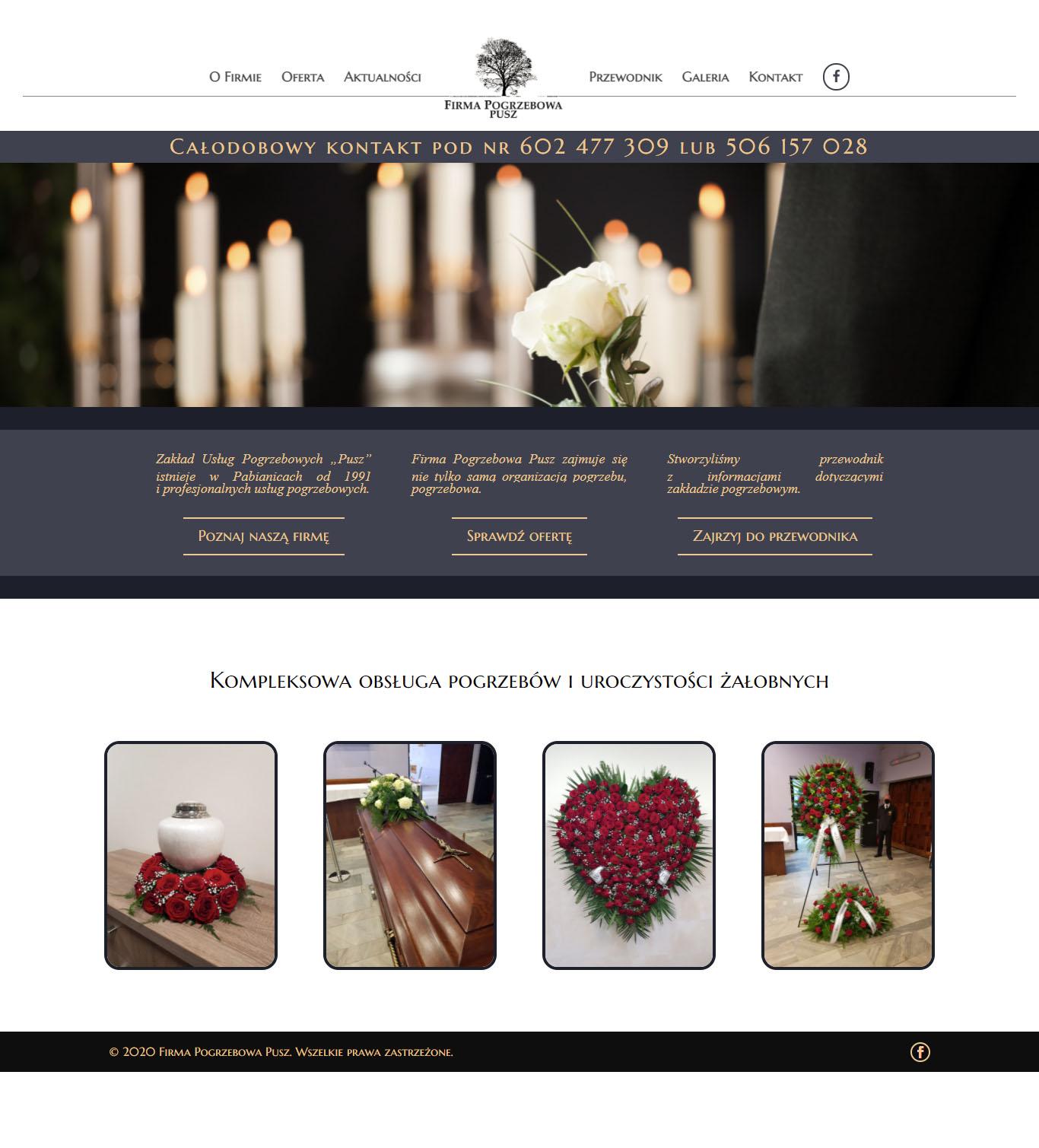 Firma Pogrzebowa Pusz – strona internetowa