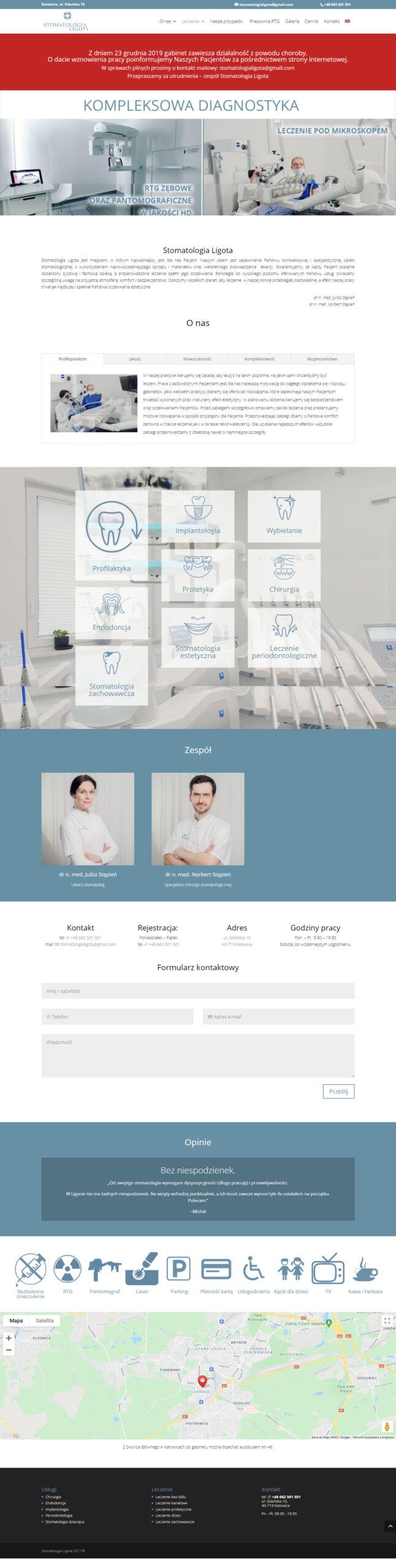 Stomatologia Ligota – strona internetowa