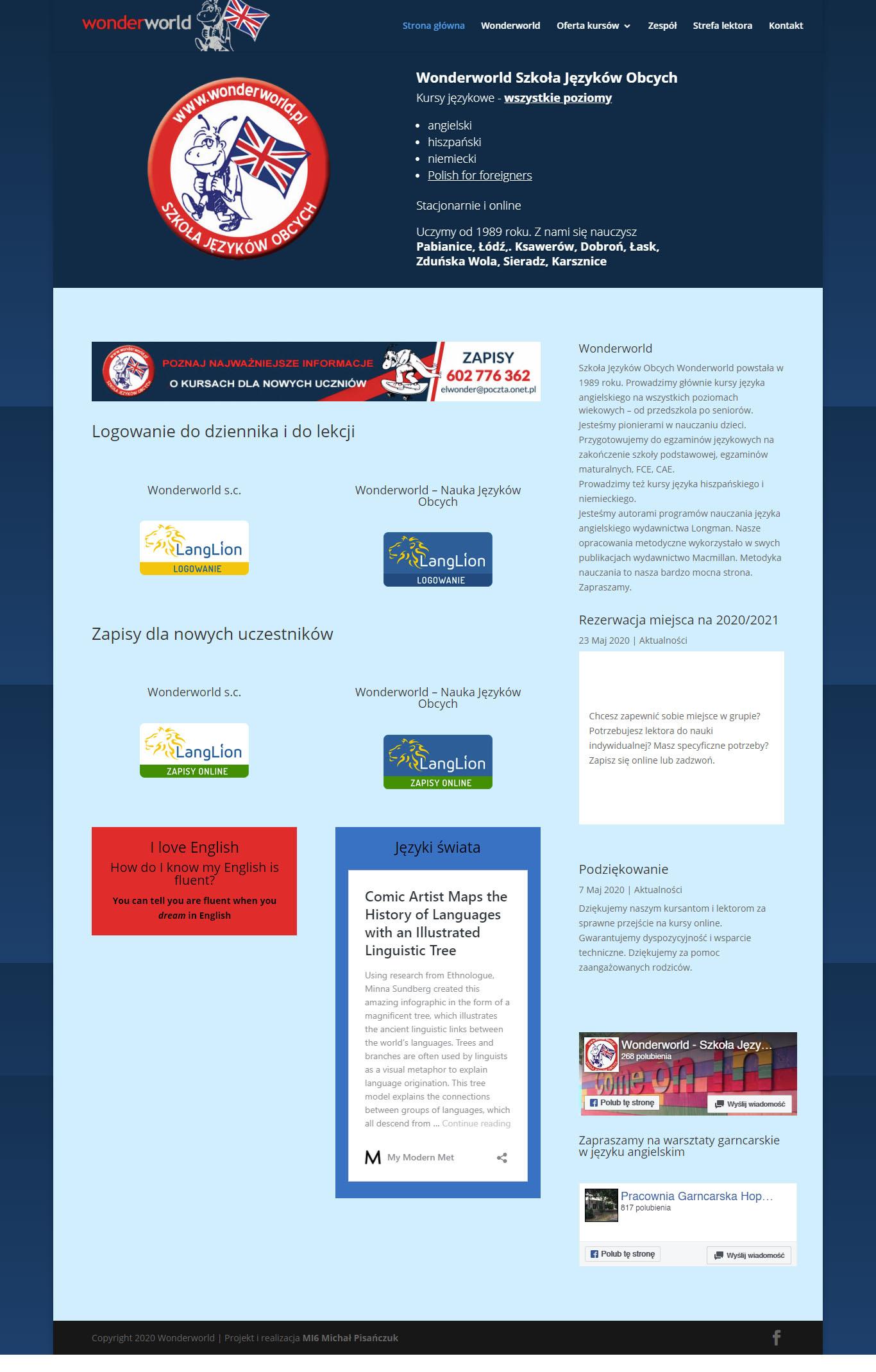 Szkoła języków obcych WonderWorld – strona internetowa
