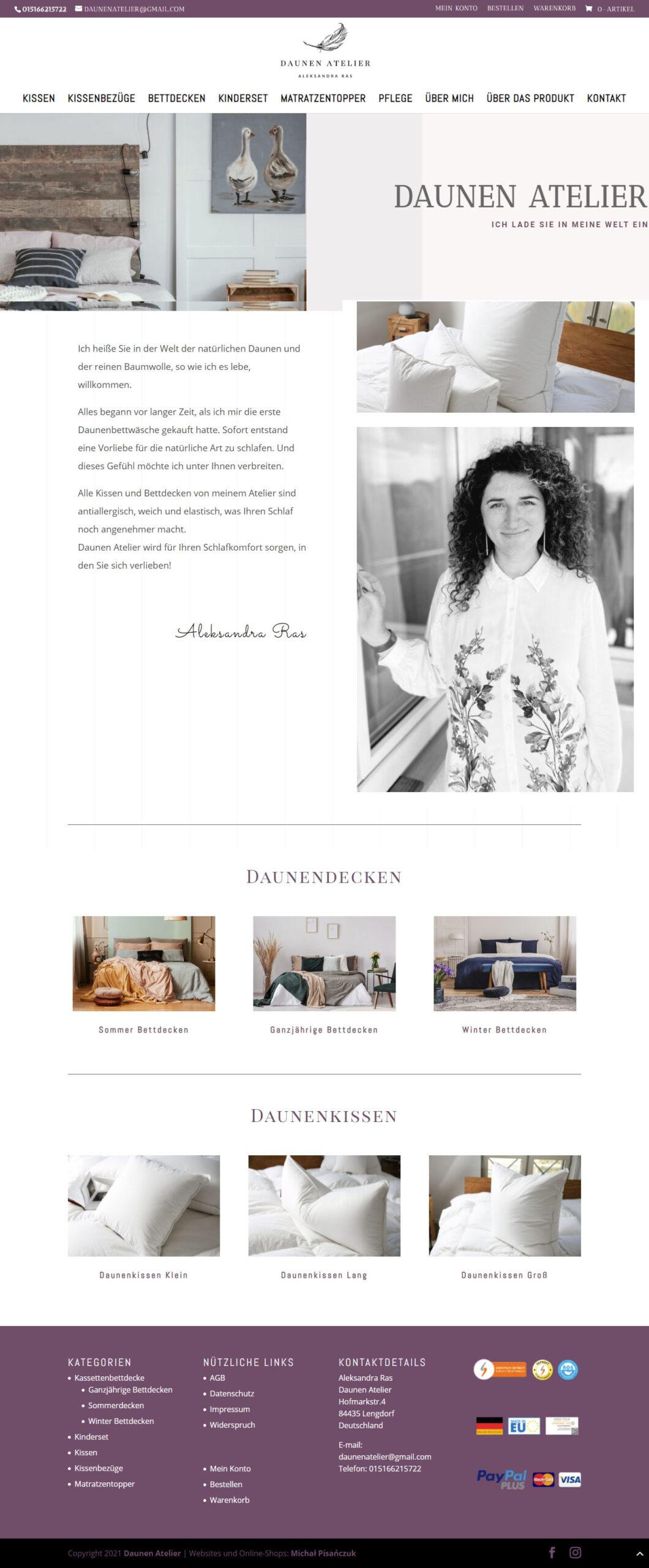 Daunen Atelier – Sklep internetowy